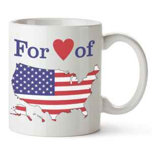 For love of country mug with US map mug
